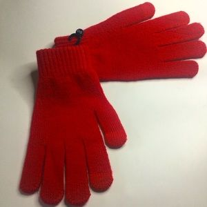 FOWNES BROTHERS SHIMA KNIT GLOVES RED OS NWOT
